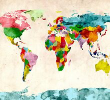 World Map Watercolors by Michael Tompsett
