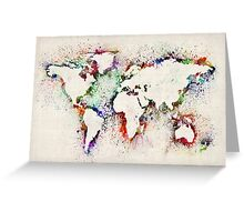 Map of the World Paint Splashes Greeting Card