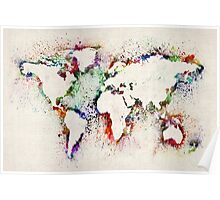 Map of the World Paint Splashes Poster