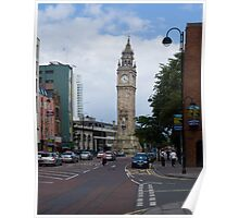 Belfast Leaning clock tower Poster
