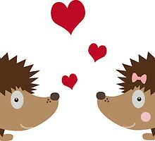 Hedgehogs in love by ilovecotton