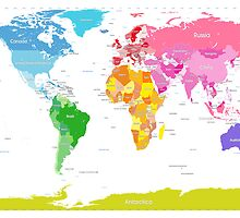 Continents World Map by ArtPrints