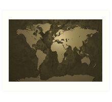 World Map Gold Art Print