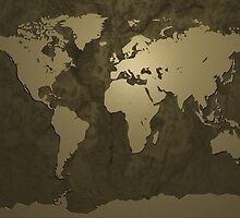 World Map Gold by Michael Tompsett