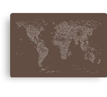 World Map of Cities Canvas Print
