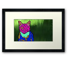 Abstract Bright Colorful Cat  Framed Print