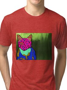 Abstract Bright Colorful Cat  Tri-blend T-Shirt