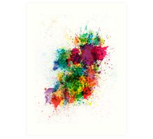 Ireland Map Paint Splashes Art Print