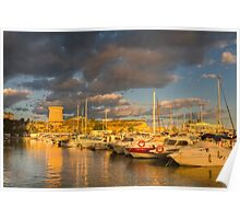 Evening clouds over the marina Poster