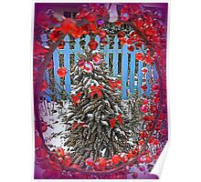 Pine Cone Tree with Red Ribbons Poster