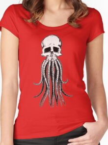 Skull octopus/davy jones Women's Fitted Scoop T-Shirt