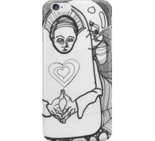 Black and White coloring page of nun and pet iPhone Case/Skin
