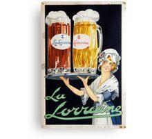 Vintage La Lorraine French Beer Advertising Canvas Print