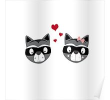 Racoons in love Poster