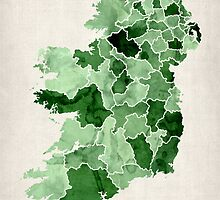 Ireland Watercolour Map by Michael Tompsett