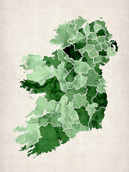 Ireland Watercolour Map by Michael Tompsett