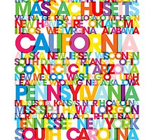 United States USA Text Bus Blind by ArtPrints