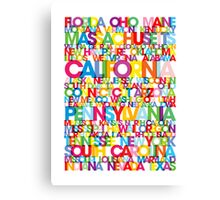 United States USA Text Bus Blind Canvas Print