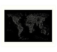 World Map of Cities Art Print