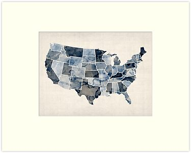 United States Watercolor Map by ArtPrints