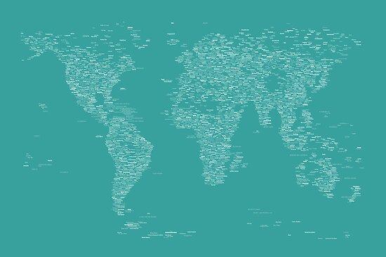 World Map of Cities by Michael Tompsett