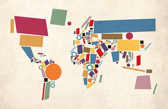 World Map Abstract by Michael Tompsett