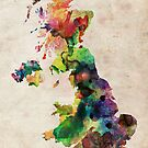 United Kingdom Watercolor Map by ArtPrints