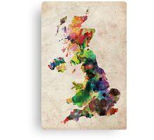 United Kingdom Watercolor Map Canvas Print