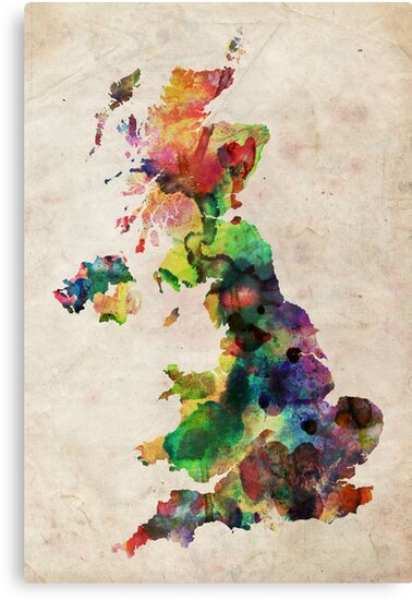United Kingdom Watercolor Map by Michael Tompsett