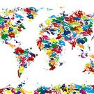 World Map Paint Drops by ArtPrints