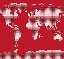 World Map Love Hearts by Michael Tompsett