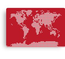 World Map Love Hearts Canvas Print