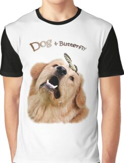 Dog and Butterfly Graphic T-Shirt