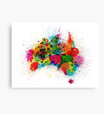 Australia Paint Splashes Map Canvas Print