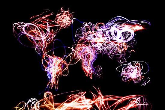World Map Light Writing by Michael Tompsett