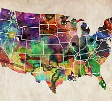 USA Watercolor Map by ArtPrints