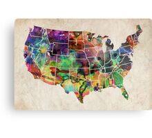 USA Watercolor Map Metal Print