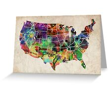 USA Watercolor Map Greeting Card