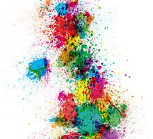 Great Britain UK Map Paint Splashes by Michael Tompsett