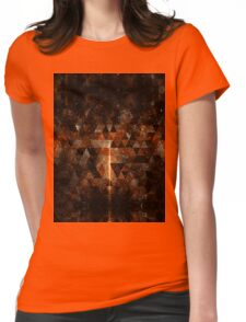 Gold beam in geometric sparkly universe Womens Fitted T-Shirt