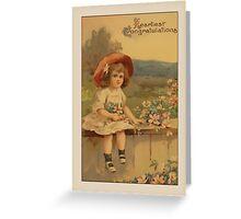Vintage Girl Congratulations Greetings Greeting Card