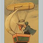 Vintage Man in Blimp Greetings by Yesteryears