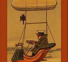 Vintage Man Driving Blimp Greetings by Yesteryears