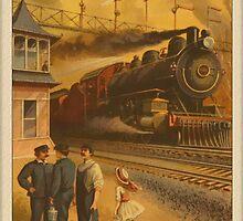 Vintage Train in Station Greetings by Yesteryears