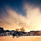 Sunset over frozen river by pahas