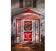 Door - Winter - Christmas kitty Photographic Print