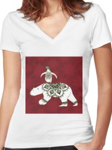 Winter Pals Red Women's Fitted V-Neck T-Shirt
