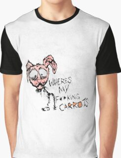 "Hand Drawn ""Where's My F***ing Carrots?"" Bunny Graphic T-Shirt"