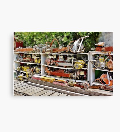 The Wall of Old Chainsaws Canvas Print