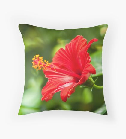 Magnificent Red Hibiscus Throw Pillow